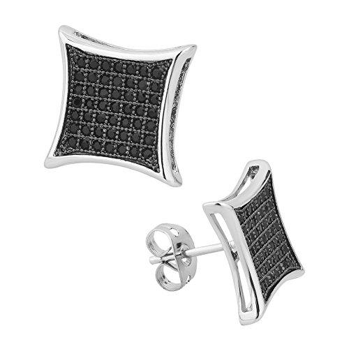 (CandyCharms Black Square CZ Kite Shape Stud Earrings 12mm Screw Back Men Earrings)