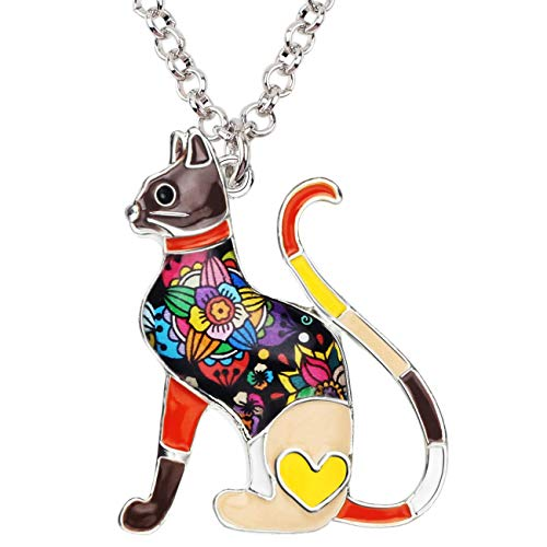 Necklace Design For Girls (BONSNY Statement Enamel Alloy Chain Cat Necklaces Pendant Original Design Women Girls Jewelry Gift Charms)