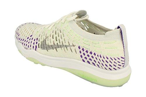 Nike Donne Zoom Aria Senza Paura Flyknit Scarpa Da Allenamento Bianco Lupo Grigio Iper Uva 103