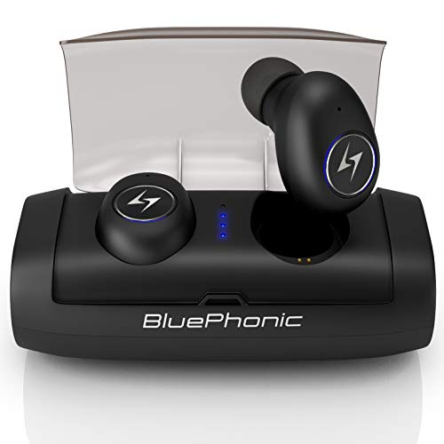 Bluephonic True Wireless Earbuds, 100Hr Play w 2600mAh Auto Pairing SweatProof Sport Headphones Headset, 3D Sound Bluetooth 5.0 Totally Wireless in Ear Earphones, Built in Mic, Dual Speaker for Calls