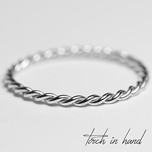 - Solid 18k Gold Thin Stacking Twist Ring