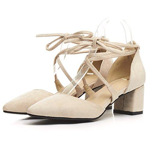 COOLCEPT Mujer Moda Cordones Sandalias Cerrado Tacon Ancho Zapatos Beige