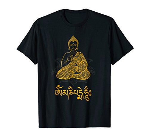 Buddha T-Shirt with Tibetan Mantra Om Mani Padme Hum