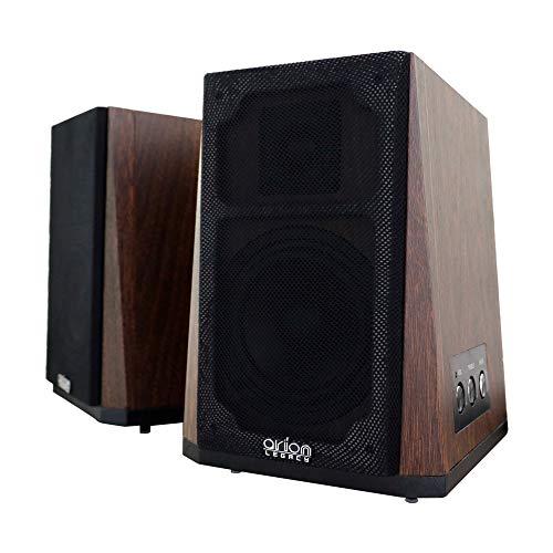 Bookshelf Speakers, Bookshelf Speaker Stands with 4-Inch Polypropylene Coated Woofer and Silk Dome Tweeter (Retro, Pair)