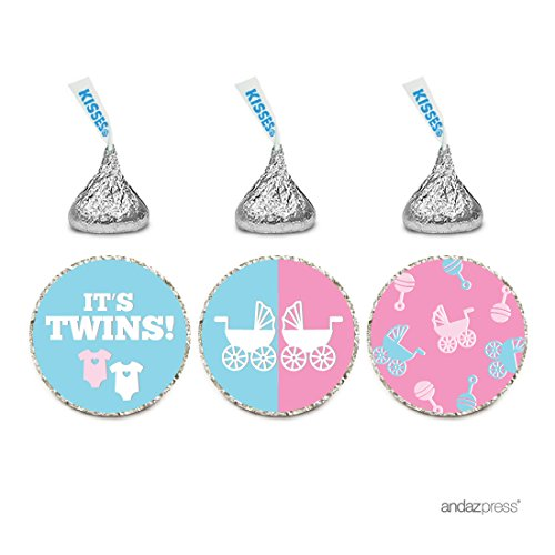 Twin Baby Shower Favors (Andaz Press Chocolate Drop Labels Trio, Twins Girl and Boy Baby Shower, It's Twins!, Pink and Baby Blue,)