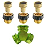 PLG 3 Way Hose Splitter + Quick Release Garden Hose connectors Set