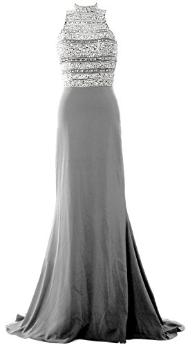MACloth Women Crystal Beaded Mermaid Long Prom Dress Formal Evening Party Gown Plateado