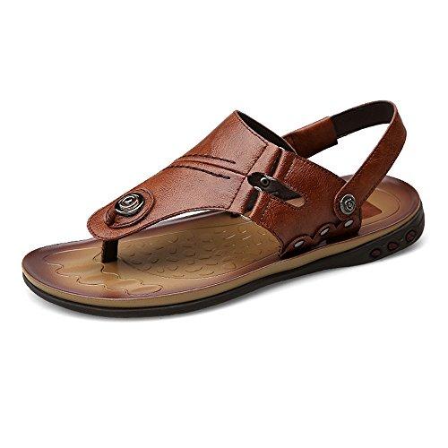 pelle Mens antiscivolo 41 Dimensione schienale da vera da Infradito 2018 shoes EU Color Marrone Pantofole Sandali uomo regolabili Infradito spiaggia Scarpe senza in zdqpR6w1