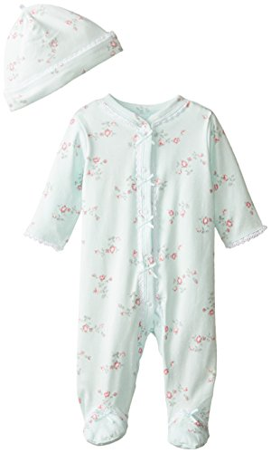 Little Me Baby-Girls Floral Spray Footie and Hat, Mint Print, Newborn