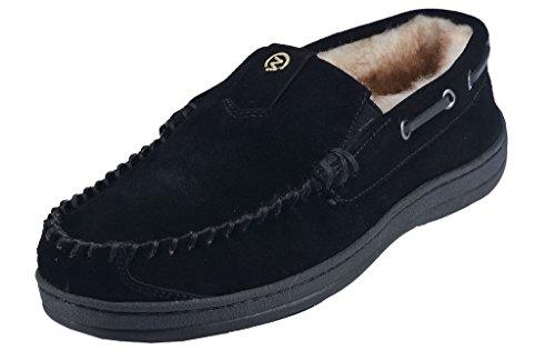MOC PAPA Men's Black Cow Suede Leather Slip-on Moccasin Slipper Size 10 US