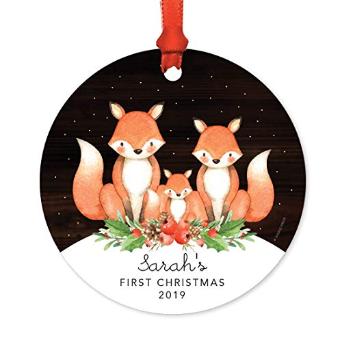 Andaz Press Personalized Baby 1st Christmas Metal Ornament, Sarah's First Christmas 2019, Watercolor Fox in Snow, 1-Pack, Includes Ribbon and Gift Bag, Custom Name