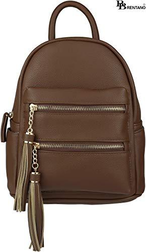 B BRENTANO Vegan Multi-Zipper Top Handle Mini Backpack with Tassel Accents (Coffee)