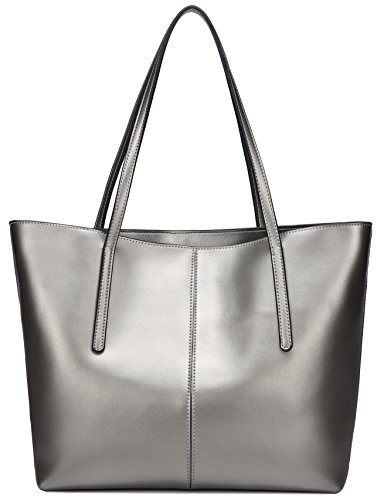 ChinFun Women's Classic Top handle Large Capacity Handbags Genuine Leather Tote Shoulder Bags Silver Size L