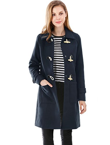 Allegra K Women's Pockets Front Worsted Toggle Coat S Blue Womens Toggle Coat