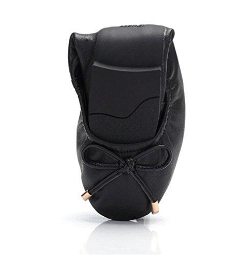 Zapatos de mujer piel genuina Ponerse Plano Suelas suaves y flexibles Mocasines Oficina y carrera Bailarina Tamaño 35 a 41 Negro