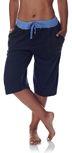 N.Y.L. New York Laundry NYL Women's Workout Capri Pants With Wide Pockets and Drawstring Elastic Waist Midnight Navy Arctic Blue Plus Size 2X Large