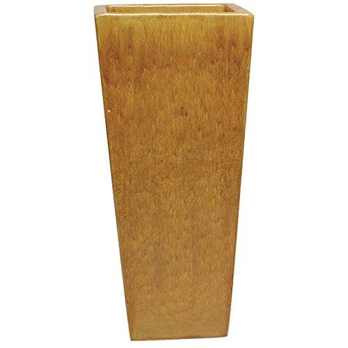 Tall Square Ceramic Planter - Honey Yellow