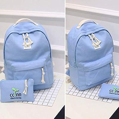 6cd653b168 ... 2PCS SET Fashionable Design Women Canvas Backpack Casual Teenage Girls  Students School Bag Travel Shoulder ...