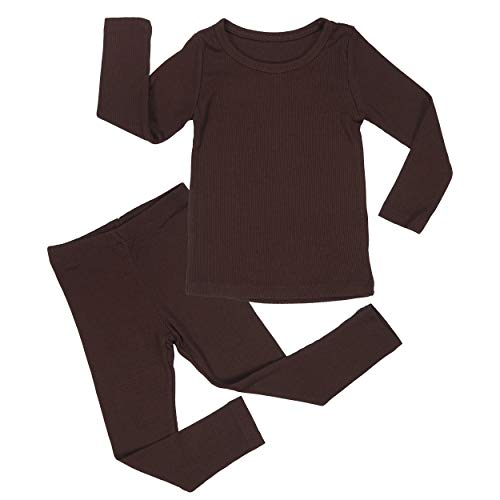 AVAUMA Baby Boy Girl Long Sleeve Ribbed Pajamas Set Snug-Fit Fall Winter Pjs Sleepwear Kids Toddler (Medium / 2T, Dark Brown(L)) by AVAUMA