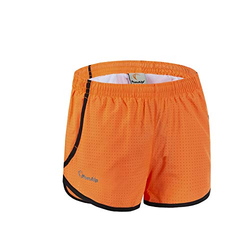 AXEN Women's Light Breathable Workout Running Shorts with Pockets Absorb Sweat Quick Dry Shorts, Orange S