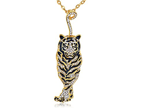 [Alilang Golden Tone Rhinestone Black Enamel Stripe Tiger Pendant Necklace] (Pop Art Girl Costume Outfit)