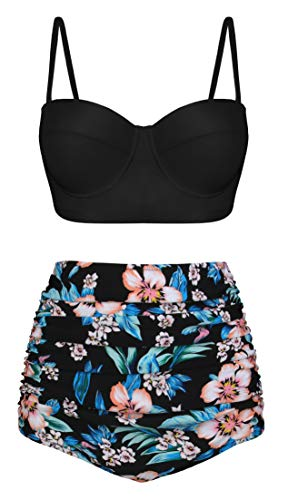 Swiland Women Vintage High Waisted Swimsuits Floral Printed Bikinis Sexy Straps Underwired Top Ink Black,4XL