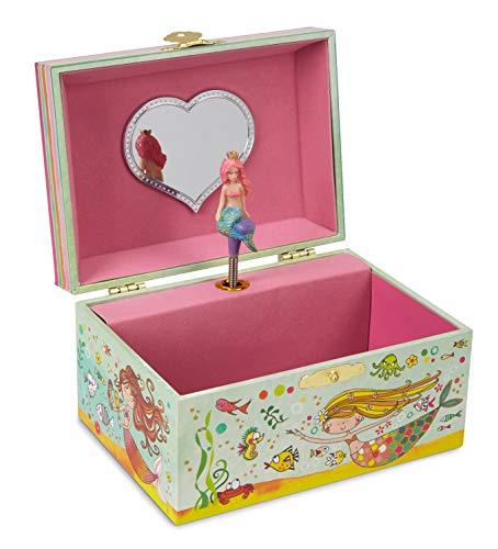 Jewelkeeper Girl's Mermaid Musical Jewelry Box, Glitter Design, Over The Waves Tune Dark Green Music Box
