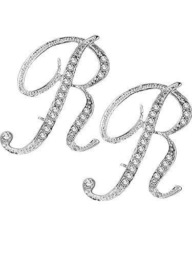 (Tatuo 2 Pieces A - Z Alphabet Brooches English Letter Rhinestone Pin for Collar Shawl Lapel Embellishment, Silver (R))