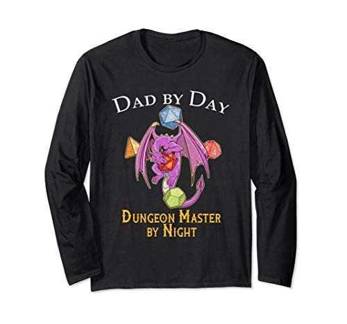 Dad By Day Tabletop Gift Shirt Fathers Dragon And Dice RPG Long Sleeve T-Shirt