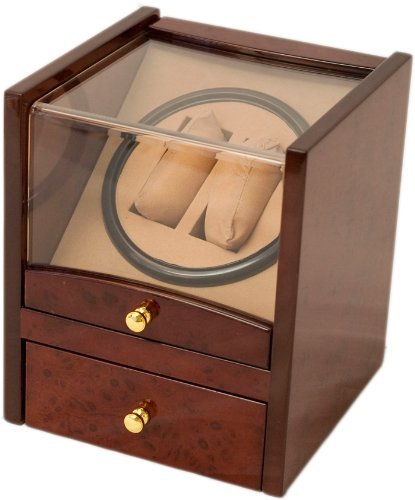 2+4 Burlwood Dual / Double Watch Winder Box AC/DC & Battery Operated w/ Drawer