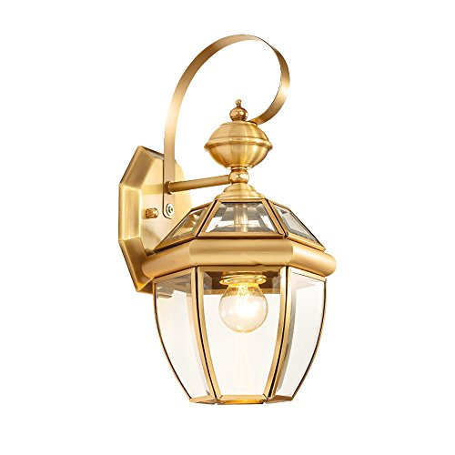 13.78 Inch/35cm high wall lamp Modern minimalist fashion E27 light bulb 1 31-40w copper Glass lampshade Bar Bedroom Living room outdoor (Gold) by Lizichun (Image #8)'