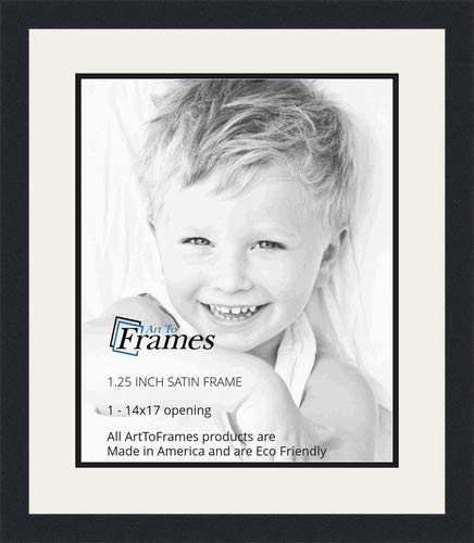 ArtToFrames Collage Photo Frame Double Mat with 1 - 14x17 Openings and Satin Black Frame
