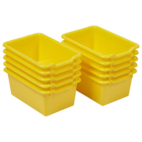 ECR4Kids Scoop Front Storage Bins, Yellow (10-Pack)