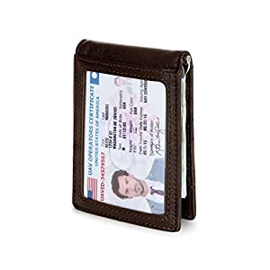 Travel Wallet RFID Blocking Bifold Slim Genuine Leather Thin Minimalist Front Pocket Mens Wallets with Money Clip - Made From Full Grain Leather (Chocolate 1.S)