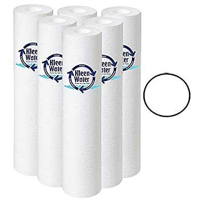 2.5 x 10 Inch Polypropylene Dirt Sediment Cartridges (6) and One O-ring (OR-34) for Pentek Water Filter 151120