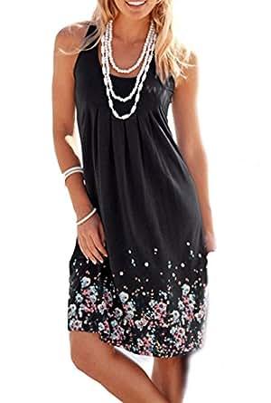 Amborido Womens Summer Casual Sleeveless Mini Printed Vest Dresses