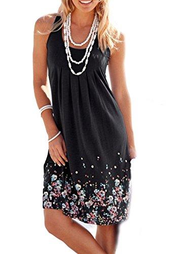 Amborido Womens Sleeveless Printed Dresses