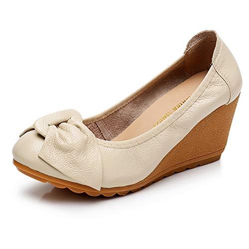 - Womens Wedge Pumps Heel Shoes Slip On with Bows Mother of Brige Shoes for Wedding Office Business Size 8.5 Off-White Beige