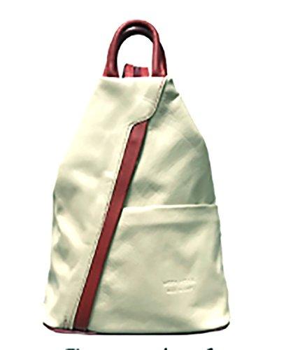 Bolso de cuero suave con cremallera convertible en mochila y bandolera, diseño italiano Cream with Red