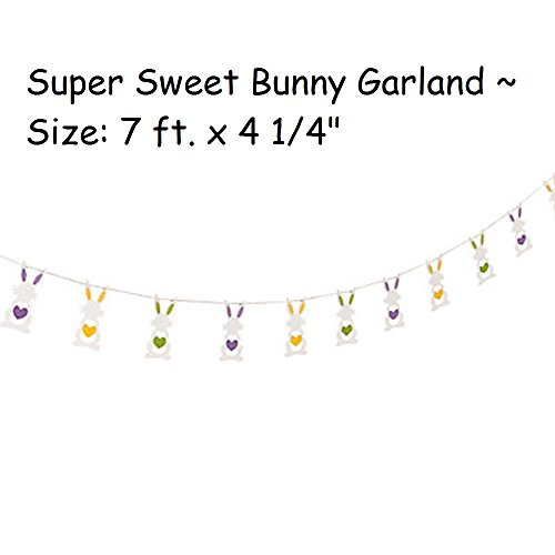 "1 ~ Bunny Heart Garland ~ 7 ft. x 4 1/4"" ~ New"