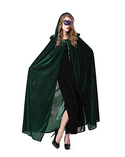 Hihihappy Fashion Women Full Length Halloween Cloak Masquerade Velvet Hooded Cape Robe Drama Cosplay Costumes Witch Wizard Magician Red ()