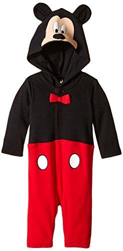 Disney Baby-Boys Newborn Long Sleeve Mickey Coverall, Black, 6-9 Months