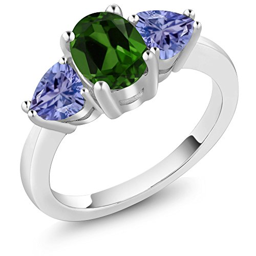 - Gem Stone King 2.00 Ct Oval Green Chrome Diopside Blue Tanzanite 925 Sterling Silver 3 Stone Ring (Size 6)