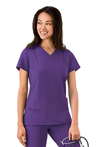 Modern Fit Collection By Jockey Women's Zipper Pocket V-Neck Solid Scrub Top Medium Eggplant
