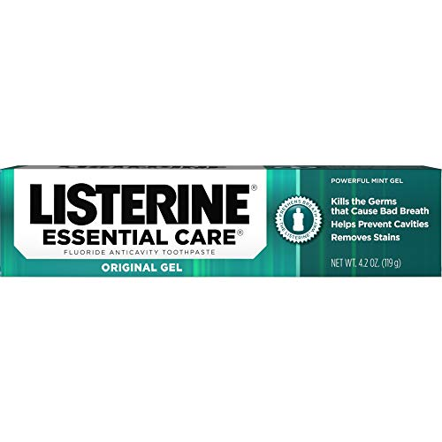 Listerine Essential Care Toothpaste, Powerful Mint Gel, 4.2-Ounce Tubes (Pack of 4)