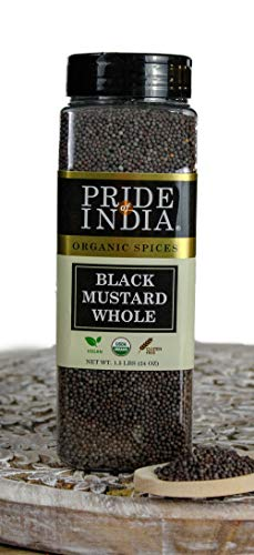 Pride Of India- Organic Black Mustard Seed Whole - 24 oz (680 gm) Large Dual Sifter Jar - Certified Pure Indian Vegan Spice- Best for Pickling, Chutney, Indian Food- Offers Best Value for Money