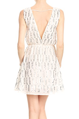 Kaci Back White Anna Deep Dress Backless Mini Sequin Stripe Womens Sleeveless V 6xqadS