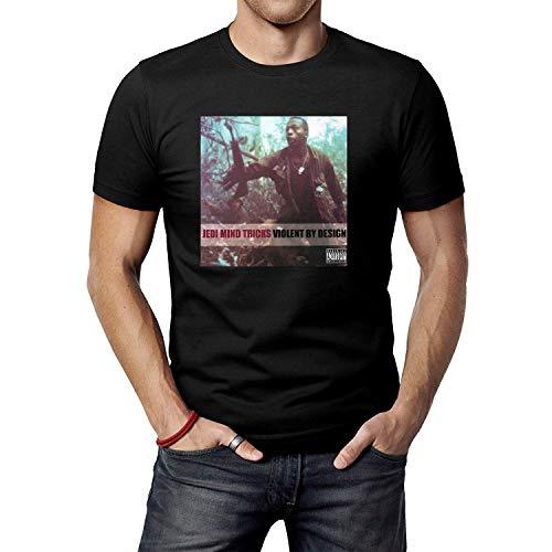HUANGQINF Men's Black Jedi Mind Tricks Violent by Design T-Shirt Tee Shirt