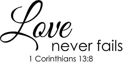 Wall Decal Quote 1 Corinthians 13 Love Never Fails Christian Bible Verse Sticker Scripture