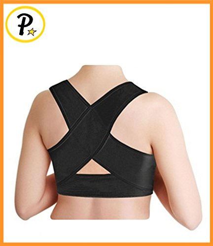 Presadee Women's Posture Corrector Upper Shoulder Hunchback Straightener Back Shaper Brace Strap (M/L, Black) (Back Shaper)